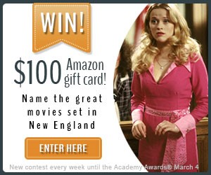 Win a $100 Amazon gift card - Enter VisitNewEngland's Movies of New England Contest - A new movie each week until the Academy Awards!