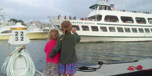 Children Waving - Island Queen - Falmouth, MA