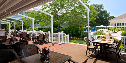 Outdoor Dining Patio 500x250 - Cape Codder Resort & Spa - Hyannis, MA