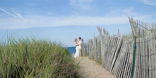 Beach Wedding Couple - The Wauwinet - Nantucket, MA