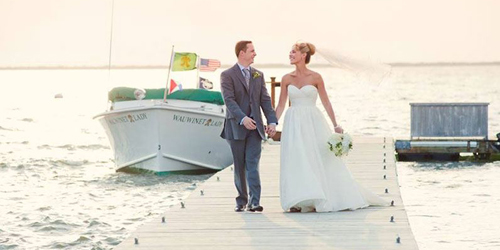 Bride & Groom on the Dock - The Wauwinet - Nantucket, MA