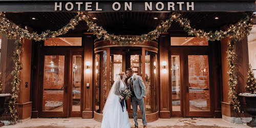 Winter Wedding Couple - Hotel on North - Pittsfield, MA - Photo Credit Elaina Mortali
