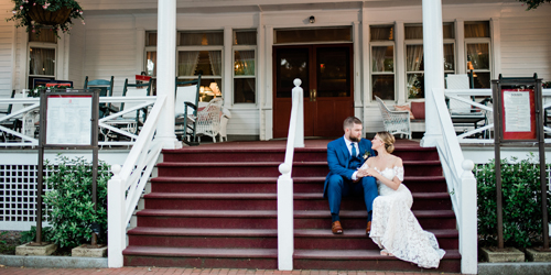 Wedding Couple on the Porch - Red Lion Inn - Stockbridge, MA