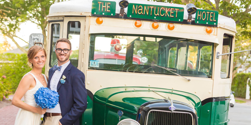 Couple in Front of Antique Bus - The Nantucket Hotel & Resort - Nantucket, MA - Photo Credit Anne Lee Photography