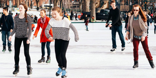 skating at the frog pond in boston MA