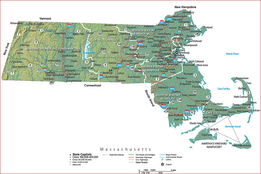 Travel Guide and State Maps of Massachusetts – Tourist Attractions Map In Massachusetts