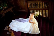 Bride on Staircase - Cranwell Resort, Spa & Golf Club - Lenox, MA